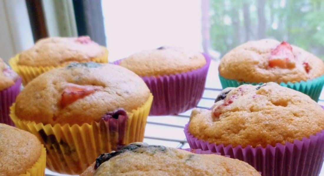 Muffins de Frutilla y Arándanos SIN TACC